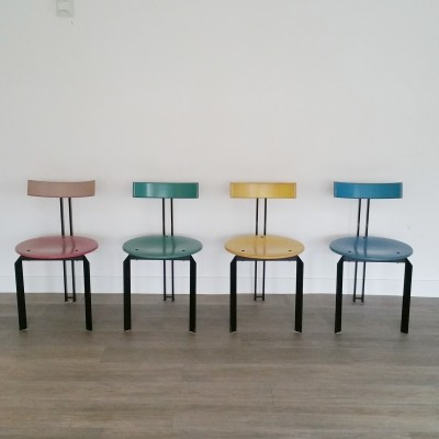 Set of 4 Memphis Style Dining Chairs, 1980s