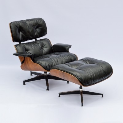 2nd Generation Eames Lounge Chair + Ottoman with new down inlays
