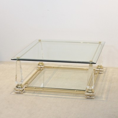 Hollywood Regency Lucite, Brass & Glass Obelisk Coffee table