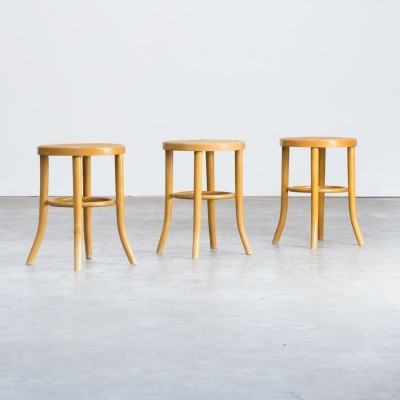 Lot of three maple wood & papercord stools for Thonet