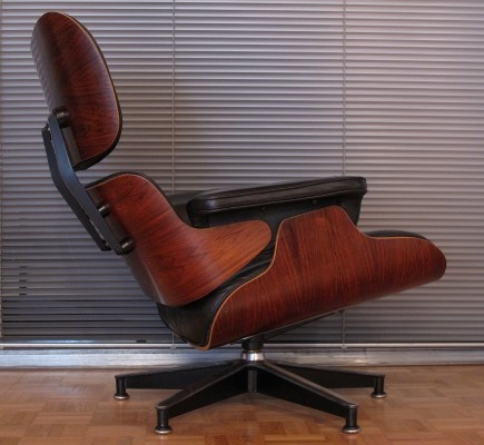 Vintage 1970's Black Leather & Rosewood Eames Lounge Chair For Herman Miller