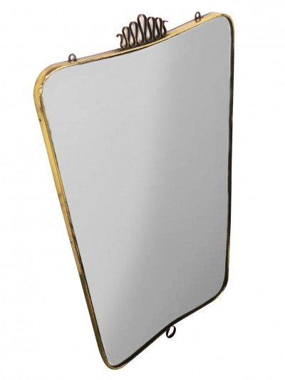 Gio Ponti wall mirror with a brass frame, 1940s