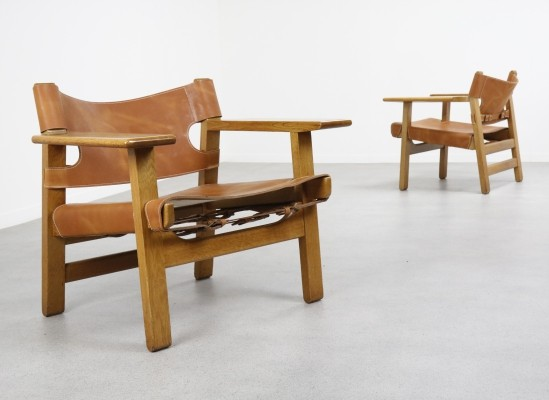 Pair of Spanish chairs by Børge Mogensen for Fredericia Stolefabrik, 1958