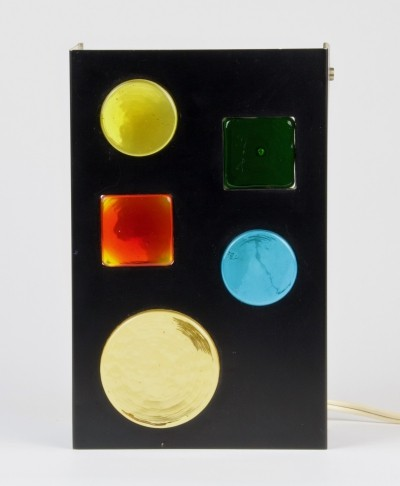 Metal wall lamp with colored Murano glass by Raak Amsterdam, ca. 1970