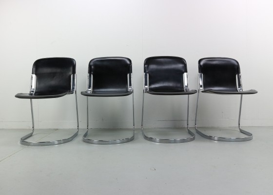 Set of 4 Cidue Dining Chairs by Willy Rizzo, 1970s