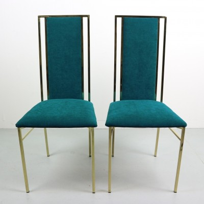 Brass & Velvet Dining Chairs, Italy 1970s