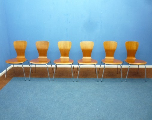 Set of 6 Teak 'Nikke' Dining Chairs by Tapio Wirkkala for Asko, 1950s