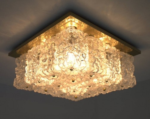 Set of 4 Limburg Wall Sconces / Flush Mount Lamps in Glass & Brass, 1960s