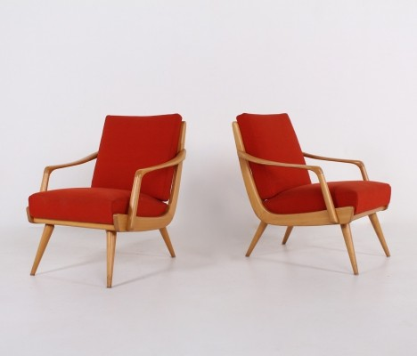 Pair of cherry scandinavian armchairs