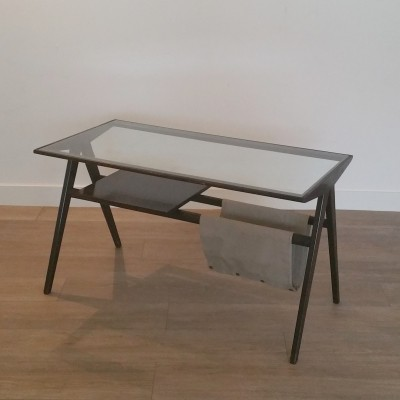 Mid-Century Modernist Coffee Table with Magazine Holder