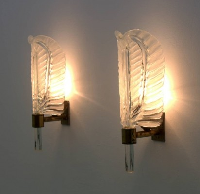 Glass & Brass Wall Sconces by Barovier & Toso, Italy 1950s