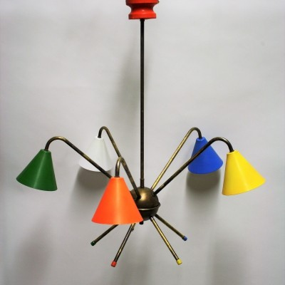 Vintage italian coloured chandelier, 1950s