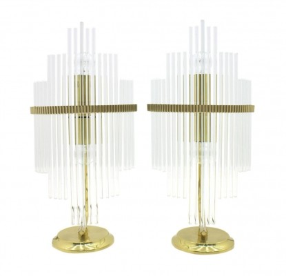 Pair of Geatano Sciolari Table Lamps in Glass & Brass, Italy 1970s