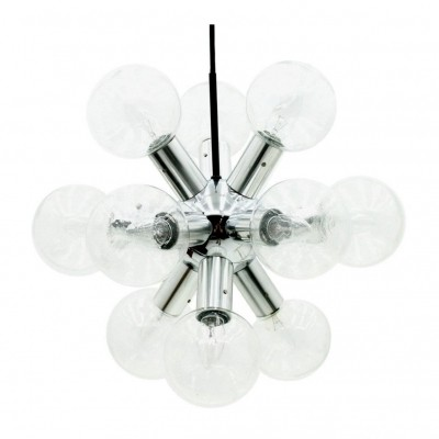 Kalmar Sputnik Chandelier in Glass & Chrome, 1960s