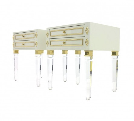 Pair of Nightstands in Lucite, Wood & Brass, 1970s
