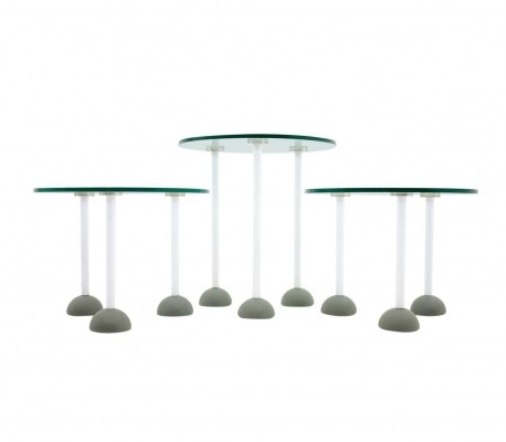 Set of Three Glass Tables with Wheels by Ettore Sottsass for Memphis Milano, 1987