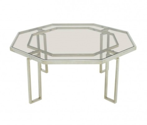 Octagonal Coffee Table with Metal Base & Glass Top, 1960s