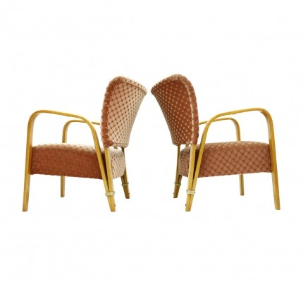 Pair of Hugues Steiner Bow Wood Lounge Chairs, France 1948