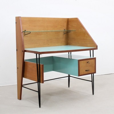 Italian mid century design writing desk with formica worktop