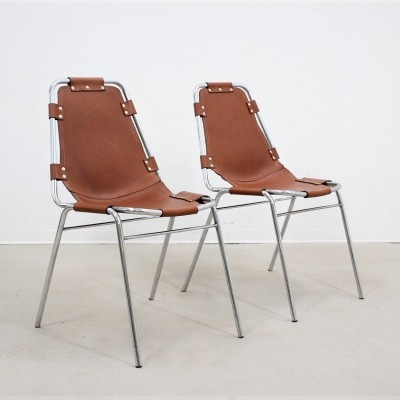 Set of 2 mid century chairs Les Arcs design by Charlotte Perriand