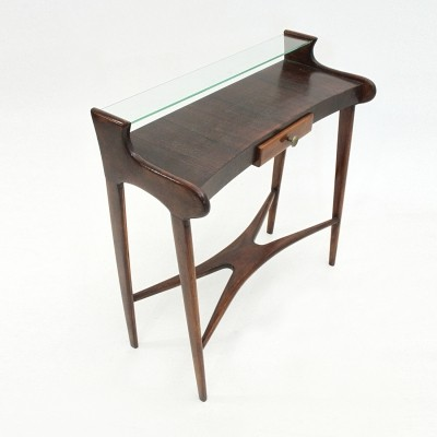 Mid-century italian console with glass shelf, 1950s