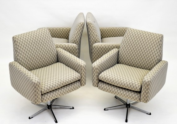 Set of 4 swivel chairs, 1970s