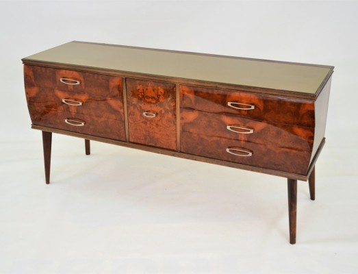 Elegant Italian sideboard with glass top & curved edges, 1950s