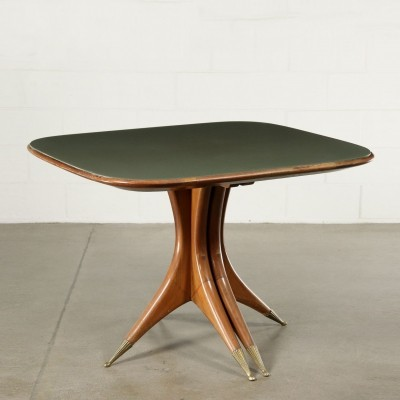 Table in Stained Beech & Back Treated Glass, Italy 1950s