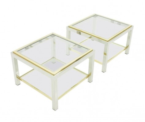 Pair of Chrome & Brass Side Tables from France, 1970s