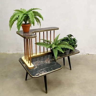 Vintage fifties plant stand with marble effect