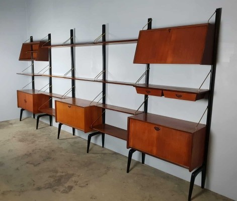 Midcentury modern vintage design wall unit by Louis van Teeffelen for Webe