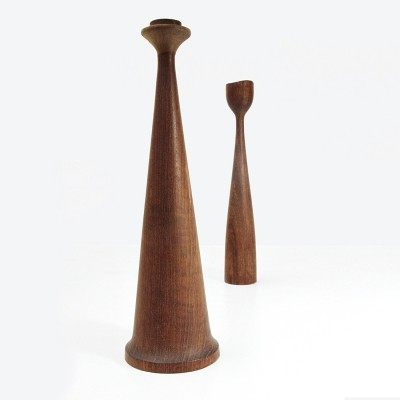Pair of Teak candlesticks by Anri Form, 1950s
