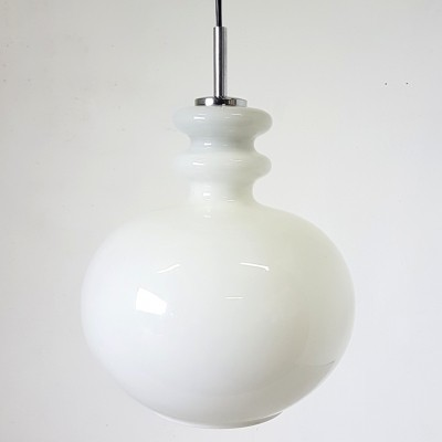 Opaline glass pendant lamp by Peill & Putzler, 1960s