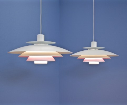 Set of 2 Danish pendants by Form Light in white with lilac/pink accent, 1960s