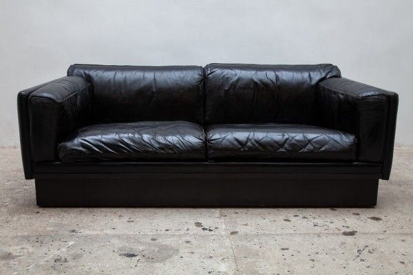2 x Durlet Black Leather sofa, Belgium 1970s