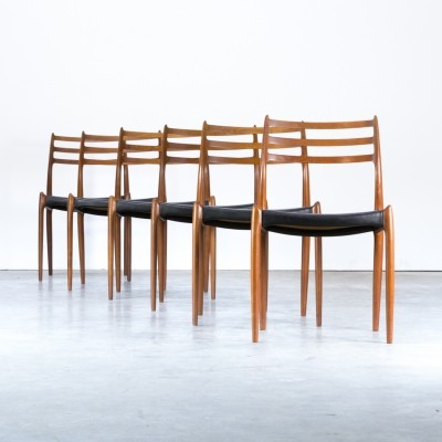 Set of 6 Model 78 dining chairs by Niels Otto Møller for J L Møller, 1960s