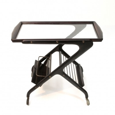 Italian Mid-century cart with glass top, 1950s