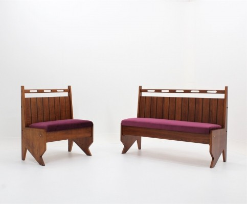 Set of 2 rare mid century italian design benches by Mobilificio Turri, Milano