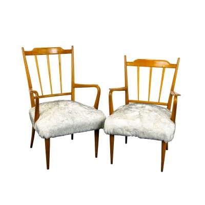 Pair of maple wood 'Him & her' armchairs by Paolo Buffa, 1940s