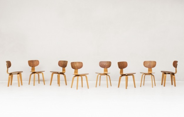 Set of 8 'SB02' dining chairs by Cees Braakman for Pastoe, 1950