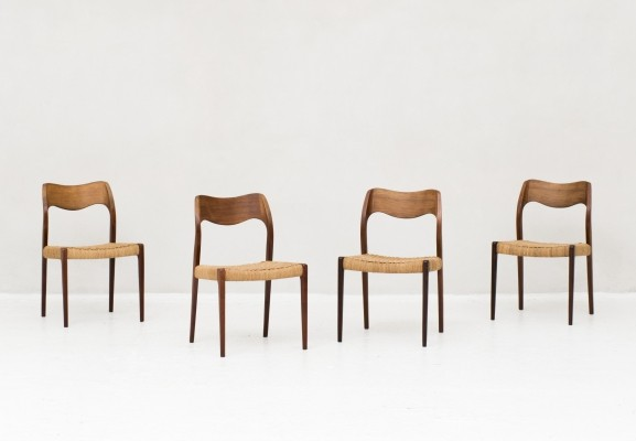Set of 4 'model 71' dining chair in papercord by Niels Otto Moller