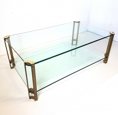 Glass & brass coffee table by Peter Ghyzcy, 1970s