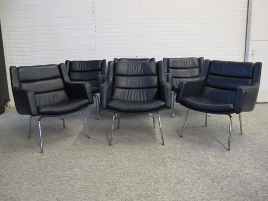 Set of 6 leather Conference chairs, 1960s