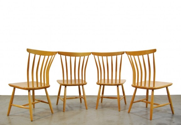 Scandinavian vintage Birch dining chairs by Akerblom, 1950s