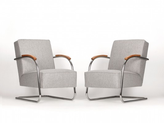 Pair of Vintage Steel Cantilever Chairs by Mücke Melder, 1930s