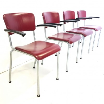 Set of 4 Nickel plated steel dining chairs by Gispen, 1950s
