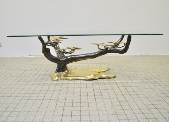 Hollywood regency 'Bonsai' sculptural coffee table by Willy Daro