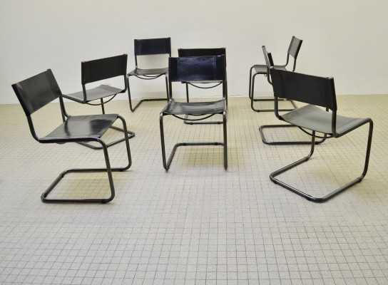 Set of 8 Bauhaus style black leather Cantilever chairs, 1980s