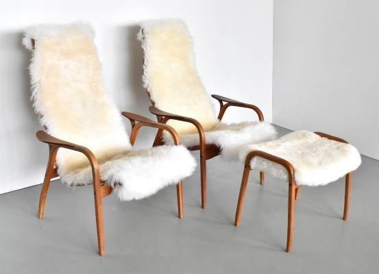 Pair of Lamino chairs in sheepskin by Yngve Ekström for Swedese, 1960s