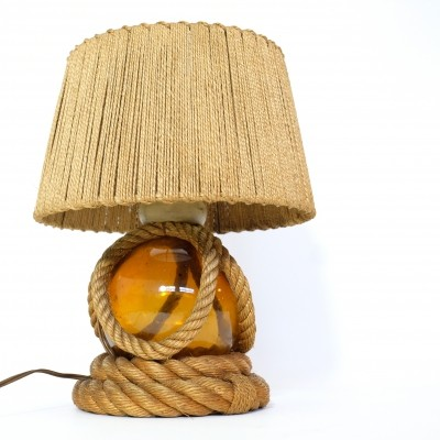 French table lamp with rope & glass, 1940-1950